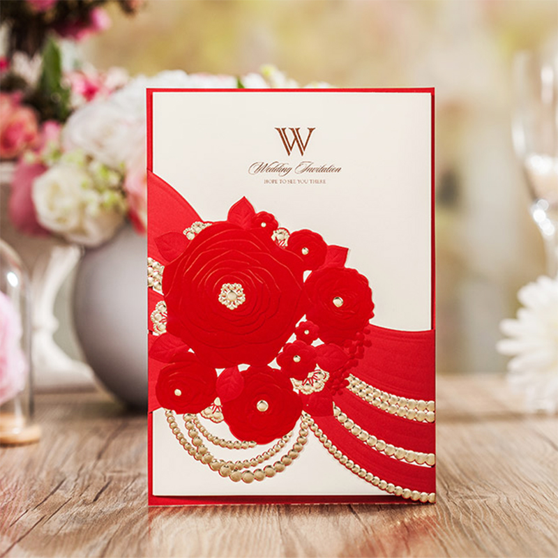 50 Pack of Design Rose Flower Red Invitations For Wedding Invitations Cards Kit Blank Printing Paper inside Card Convite square design white laser cut invitations kit blanl paper printing wedding invitation card set send envelope casamento convite