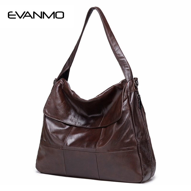 Large Pocket Soft Hot Genuine Leather Women Hobos Handbag Brand 100% Cow Leather Simply Style Shopping Freedom Shoulder Bag E 100% genuine leather make cow leather handbag shoulder bag shell bag middle aged women suitable for life shopping the best gift