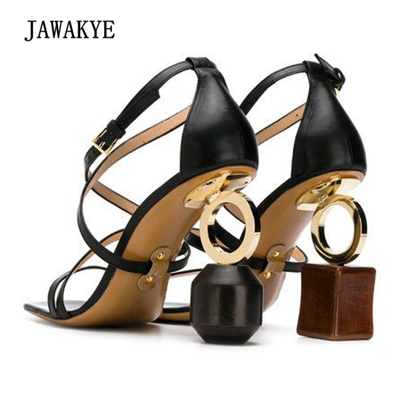 2018 Newest Gladiator Sandals Women Open Toe Cross Strap Asymmetric Blocks Strange Heel Shoes Woman Party Shoes new sexy strappy strange heel gladiator sandals women open toe buckle high heel shoes asymmetric building block heel party shoes