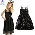 2~6 Years High Quality Toddler Kids Dresses for Girls Younger Children Sequins Summer Sleeveless Baby Long Black Dress