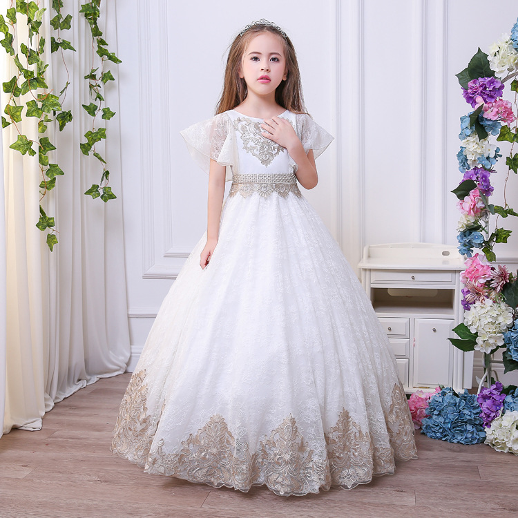 Здесь продается  2018 new SPRING summer children clothing girls formal lace wedding dresses for girls dress vestidos priceness dresses   Детские товары