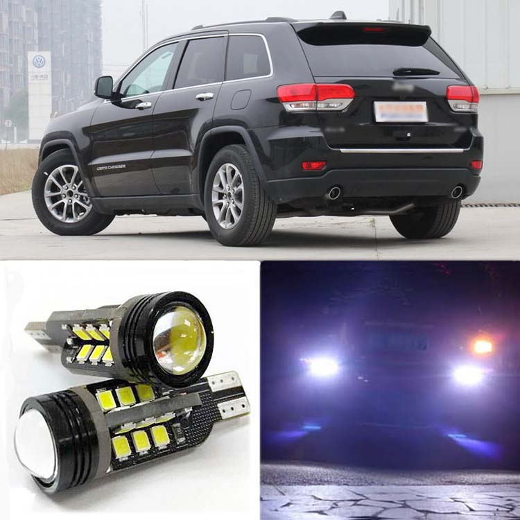 2pcs High Quality Superb Error Free 5050 SMD 360 Degrees LED Backup Reverse light Bulbs T20 For Jeep Grand Cherokee 2pcs lot t15 w16w 921 912 2835 21smd led canbus error free tail lights bulbs car reverse light backup light white 12v 24v