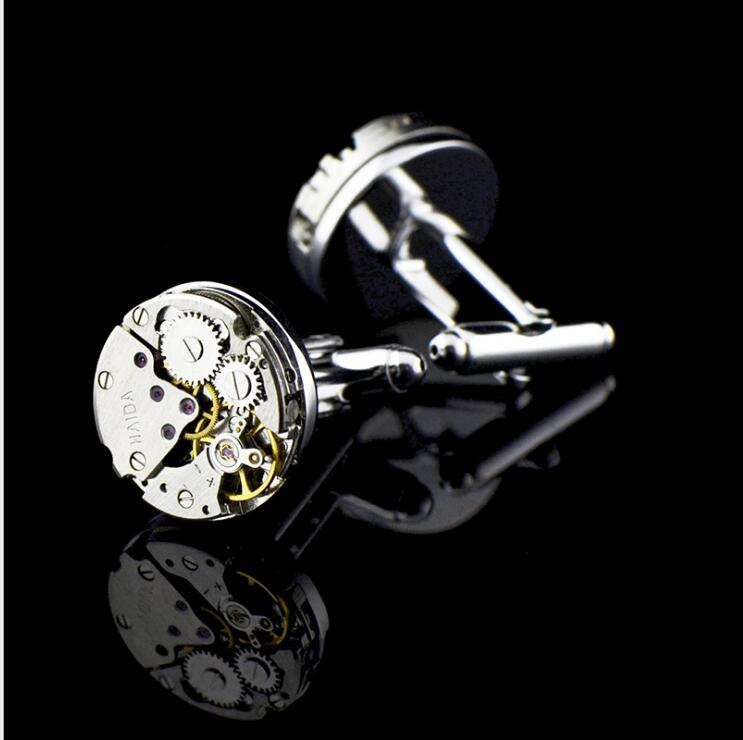 InBev round movement watch shape cufflinks, men, watch French cuffs