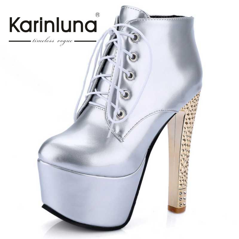 ФОТО KarinLuna Size 34-40 Women Ankle Boots Solid Square Extremely High Heels Shoes Woman Fashion Trend Sexy Lace Up Platform Boots