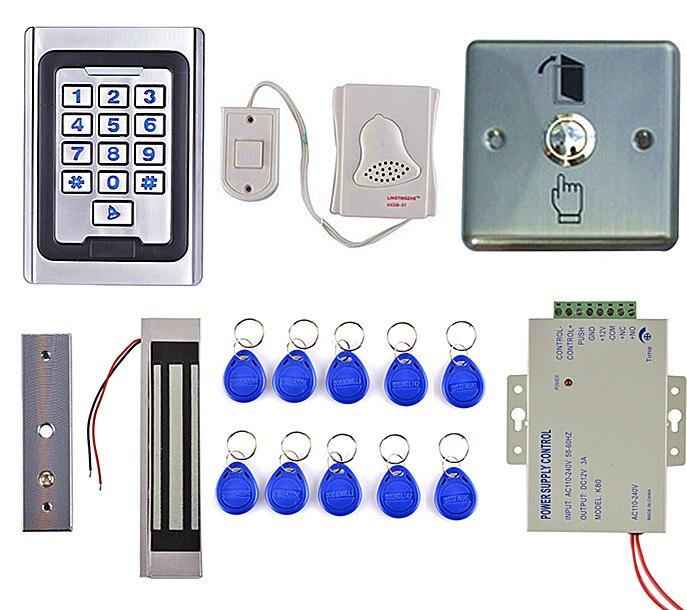 300LBS Magnetic Door Lock +125KHZ Metal Case Access Control Kit+DoorBell+ Door Button