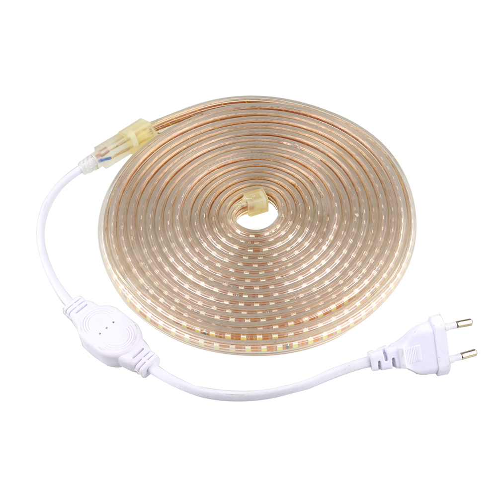Tanbaby Flexibel Vattentät Led Strip Light AC220V med EU Power Plug 120 Led / M 2835 SMD hög ljusstyrka utomhus inomhus