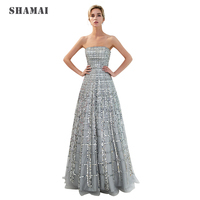 SHAMAI Women Strapless Evening Dresses Formal Luxury Design Gray Party Dress 2018 Sexy Floor Length Sequins Evening Gown 71703