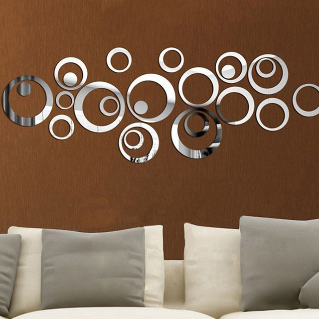 2017 modern circles 3d mirror wall sticker diy art round removable decals mural home living room