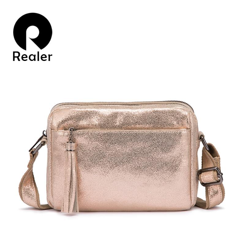 REALER genuine leather sling shoulder bags for women tassel crossbody messenger bag ladies fashion purses and