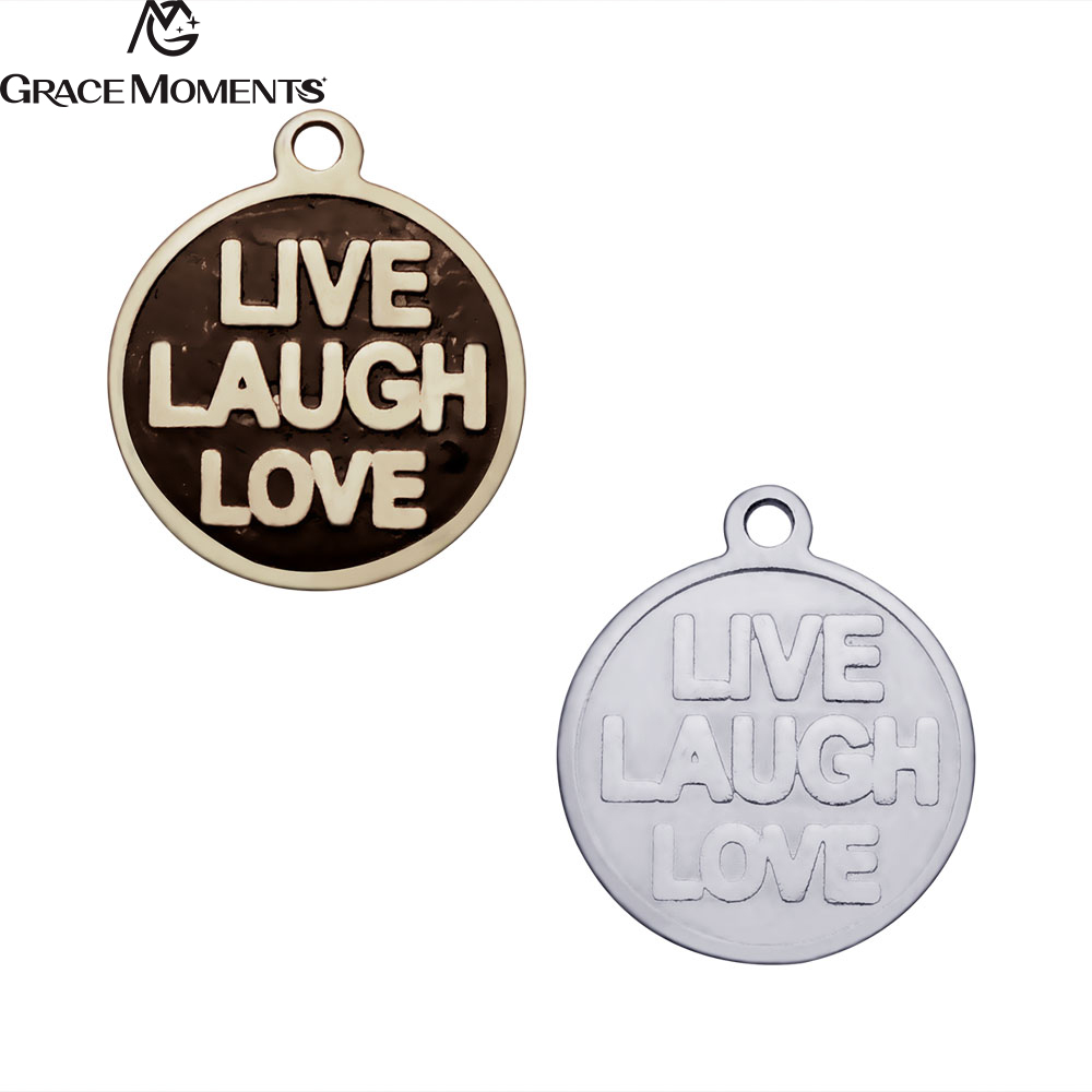 10pcs/Lot Grace Moments Stainless Steel Charms Live Laugh Love Charms Pendants for Jewelry Making DIY Handmade Gift 14mm