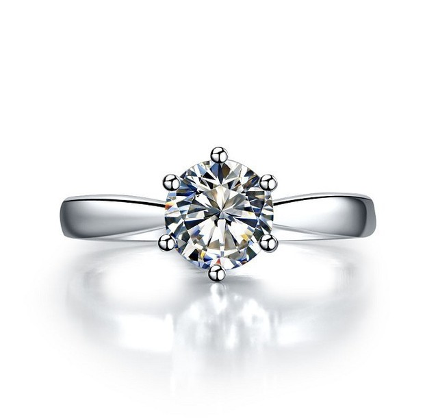 Positive Authentic Moissanite Ring Solid 14K White Gold 06Ct
