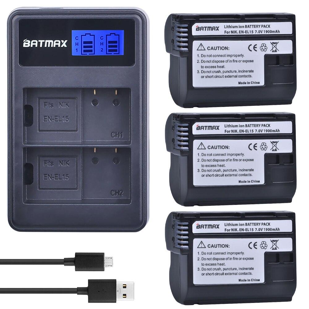 3 stücke EN EL15 ENEL15 EN-EL15 Batterie + LCD Dual Ladegerät für Nikon D500, D600, D610, d750, D7000, D7100, D7200, D800, D800E, D810, D810A v1