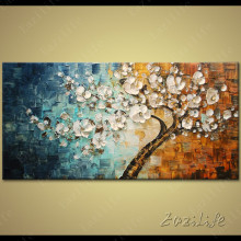 Tree Hand Painted palette knife 3D texture flower Canvas Oil Painting Wall Art Pictures For Living Room home decor cuadros