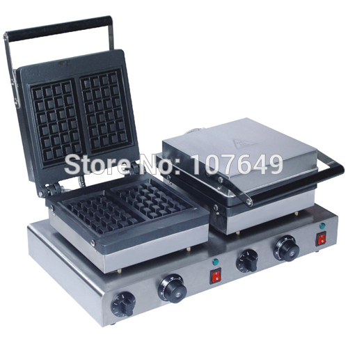 110v 220V Commercial Use Non-stick Electric Dual Belgian Waffle Machine Maker Iron Baker free shipping commercial use non stick 110v 220v electric 8pcs square belgian belgium waffle maker iron machine baker