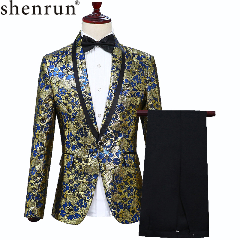 Shenrun Men New Fashion Tuxedo Slim Fit Jacquard Suit Jacket Blazer Black Pants Wedding Business Party Prom Man Stage Costume