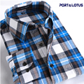 Port&Lotus Men Shirt  Casual Long Sleeve Plaid 100% Cotton Colorful Spring Autumn 079 Men Clothes Camisa Masculina wholesale