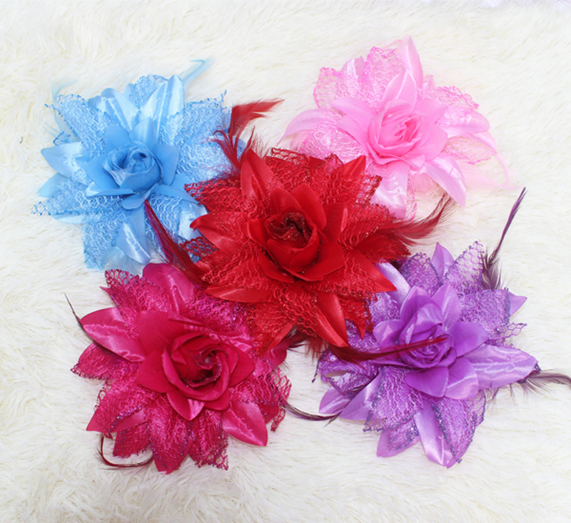 Big flower Feather Fascinator Flapper Headband Colors Headwear Hair Accessories Clip Brooch Wedding Hairpin BD001