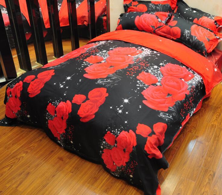 3 pcs 4 pcs ดอกกุหลาบพิมพ์บางโพลีเอสเตอร์ชุดผ้านวมผ้านวมผ้านวมพร้อมหมอนกรณีไม่มี Filler เตียงสิ่งทอ