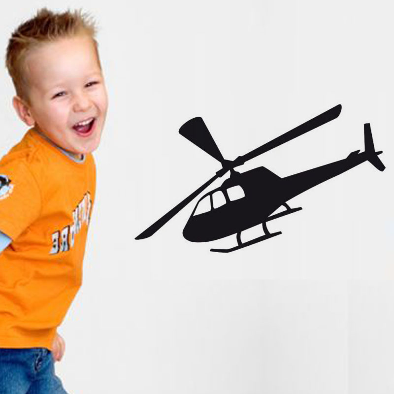 Simple Design Helicopter Wall Stickers Vinyl Self Adhesive Waterproof Cartoon Airplane Wall Decal Home Decor