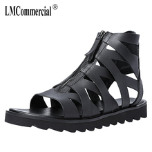 цена на High top Roman sandals male Genuine Leather hollowed sandals summer breathable thick-soled mens gladiator sandals summer