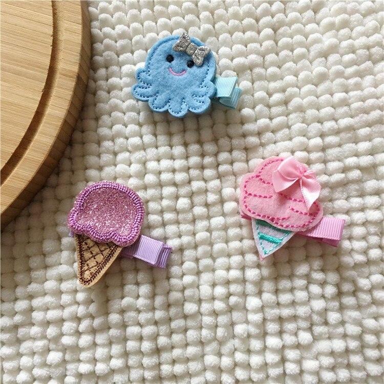 Retail Boutique 3pcs/set Fashion Cute Felt Icecream Hairpins Kawaii Solid Glitter Mini Octopus Hair Clips Headware Accessories