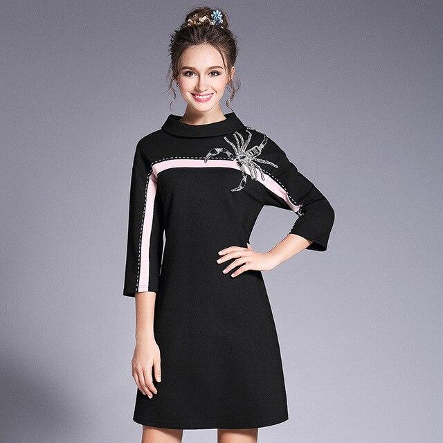 Perlen Kontrast Schwarzes Kleid Skorpion Plus Größe Frauen Kleidung ...