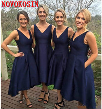 Fashion Navy Blue 2019 Bridesmaid Dresses Satin High Low V-Neck Simple Maid Of Honor Party Gowns Formal Prom Dress With Pocket