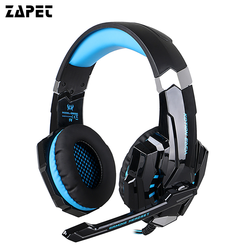 ZAPET Surround Sound Version Game Gaming Headphone USB 3.5mm AUX PC Headset Earphone Headband with Microphone LED Light