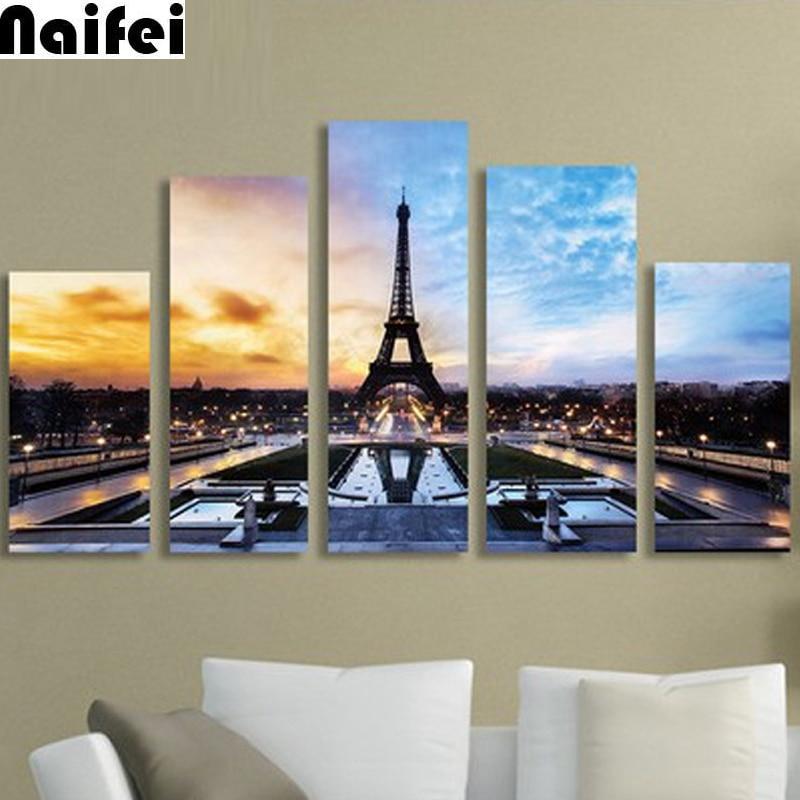 5pcs 5D DIY round Diamond Painting Paris tower scenery Full Square Embroidery Sale Picture Rhinestone Diamond Mosaic Home Decor