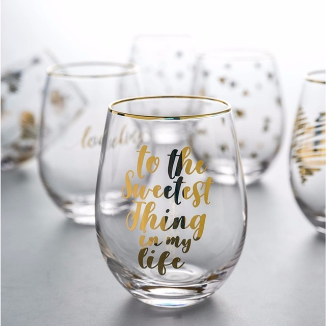 New Crystal Big Belly Egg Wedding Wine Glass Trace Gold Letter Whiskey Glasses Beer Cocktail Cup