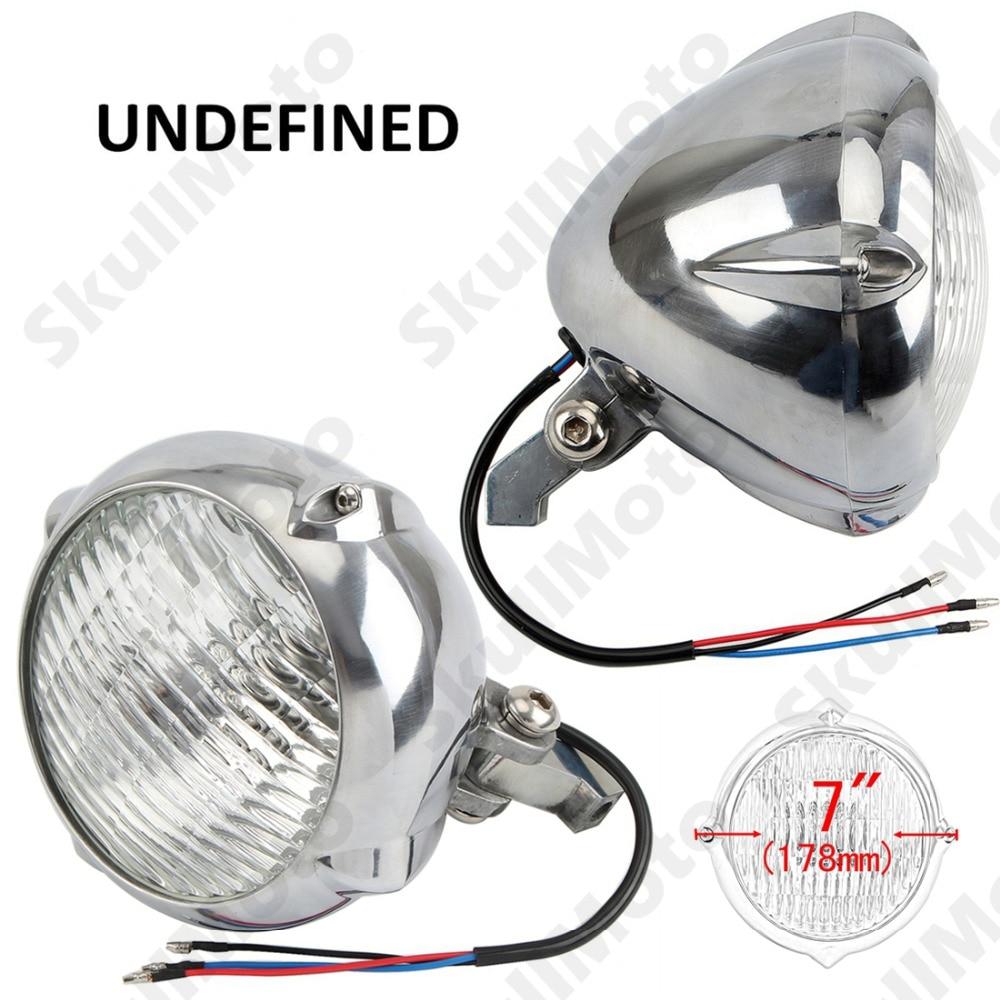 цена на 7 Chrome Motorcycle Headlight Vintage Retro Front Headlight Lamp High/Low Beam For Harley Cruiser Cafe Racer Custom Universal