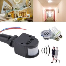Universal Professional Motion Sensor Light Switch Outdoor AC 220V Automatic Infrared PIR Motion Sensor Switch With LED Light цена