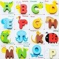 1 Pcs Letras Digital Puzzle De Madeira Aprendizagem Precoce Educacional Brinquedo De Madeira Do Miúdo Do Bebê da Criança Cartão Símbolo Do Alfabeto Jigsaw Jogo de Correspondência