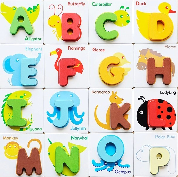 1 Pcs Letters Digital Puzzle Learning Wood Toy Baby Child
