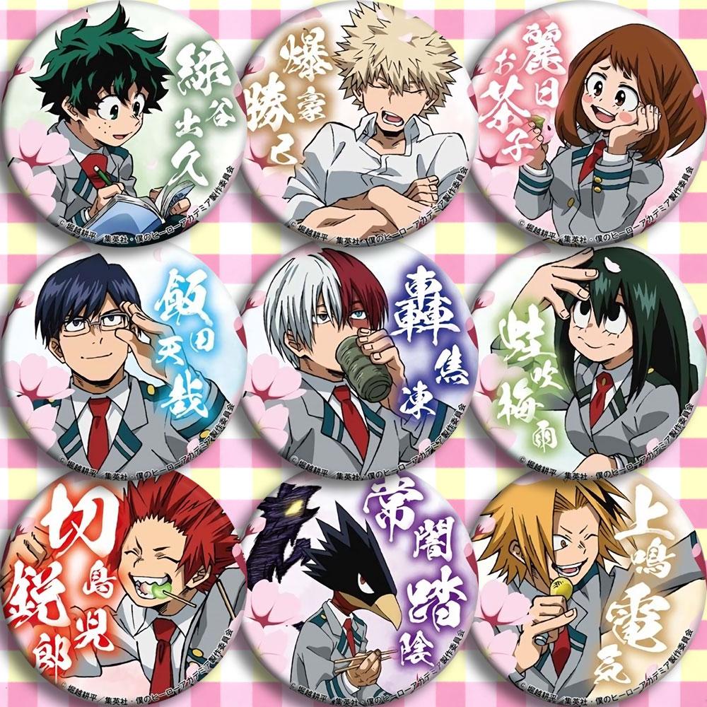 My Hero Academia/Boku No Hero Academia Uraraka Ochako Bakugou Katsuki Todoroki Midoriya Izuku Shoto Tsuyu Circle Badge Emblem