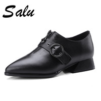 Salu 2019 Spring New Big Size 9 10 11 Mature Genuine leather Women square High Heels Pumps Office Ladies Sexy Work Shoes Woman