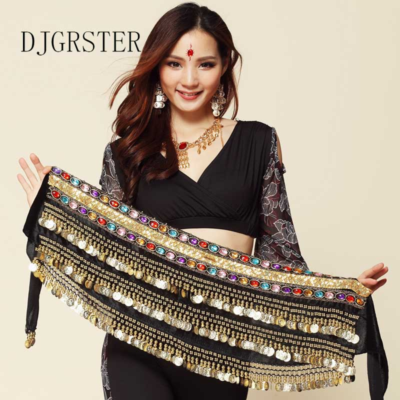 DJGRSTER New Fashion Chiffon Belly Dance India Dance Hip Scarf 3 Rows Coin Belt Skirt Scarf Wrap Costume 338 Gold Coin Chain