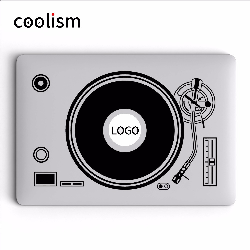 DJ Turntable Disk Record Player Vinyle Laptop Sticker Decal para Apple MacBook Sticker 11 12 13 15 pulgadas Mac Mi Surface libro piel