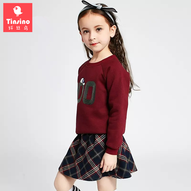 Tinsino Children Girls Autumn Clothing Sets Long Sleeve T-shirts + Plaid Skirts Girls Spring Clothes Kids Girl Skirt Suits