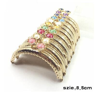 20шт/10 шт 8,5 см сумка в форме головы лотоса, застежка в виде поцелуя, светильник с золотым полукольцом, металлическая рамка для кошелька, аксессуары для шитья - Цвет: Light gold