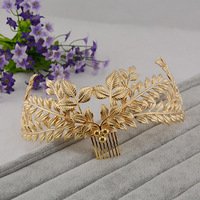 2016 Hot Sale Fashion Vintage Leaf Bridal Tiaras Hair Comb Gold Crown For Women Wedding Diadem