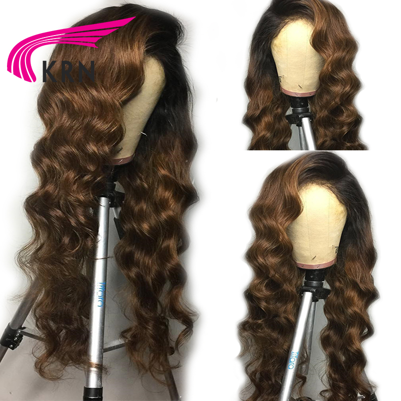 KRN Ombre Lace Front Human Hair Wigs With Baby Hair Body Wave 13X6 Remy Pre Plucked