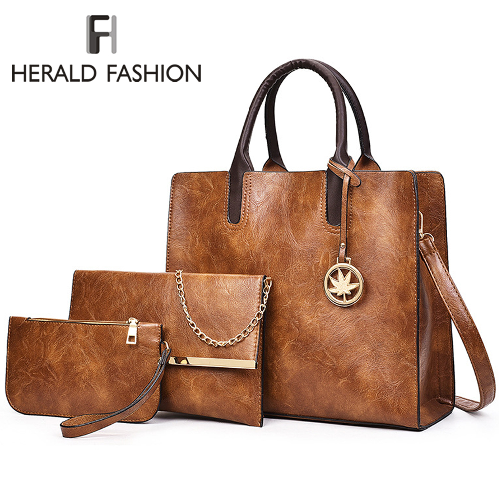 Herald Fashion Women Bags Set 3 Pcs Large Casual Tote Bags Leather Female Shoulder Bag Ladies Handbag+Messenger Bag+Purse Sac
