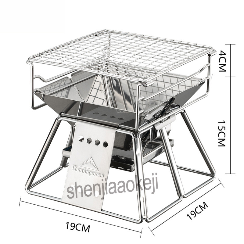 цена на Portable Stainless Steel BBQ Oven Household barbecue Grill Outdoor Exquisite Mini Barbecue furnace 1pc