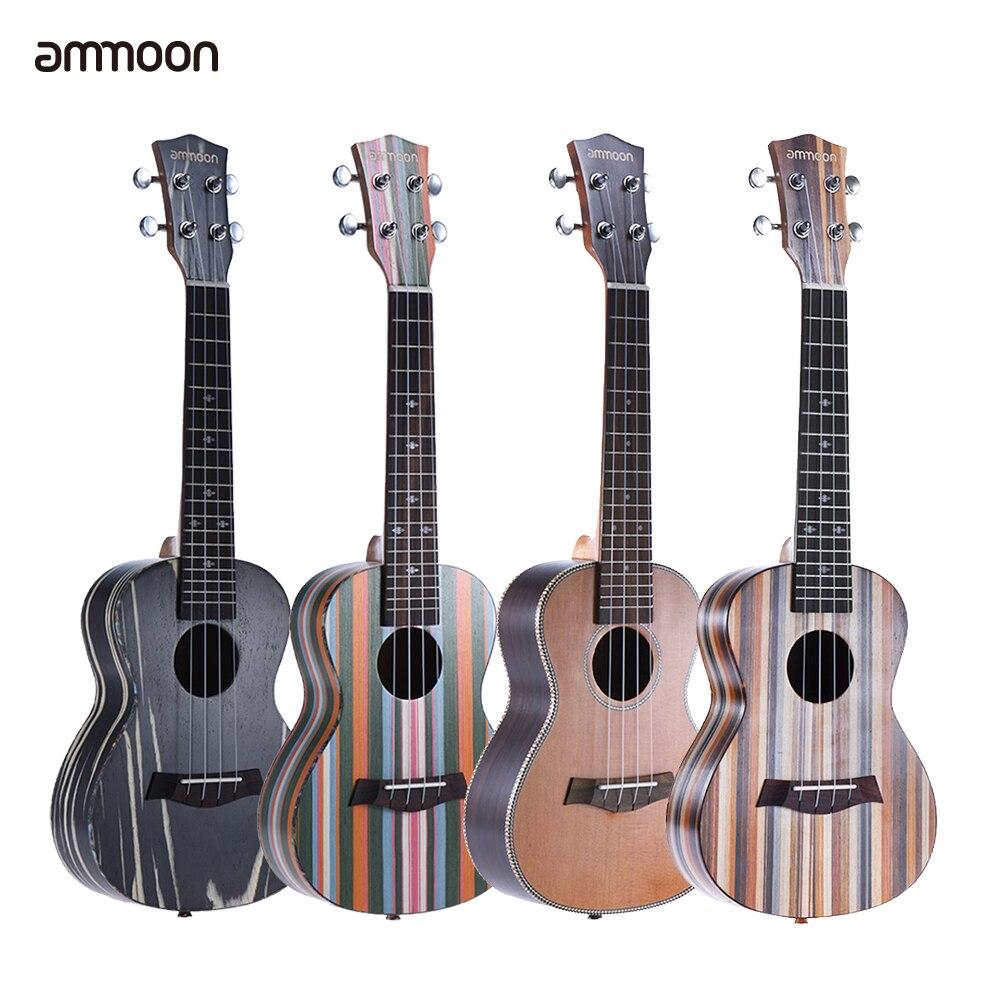 ammoon 24 Ukulele Acoustic Soprano Ukelele Uke 18 Frets 4 Strings Okoume Neck Rosewood Fretboard String