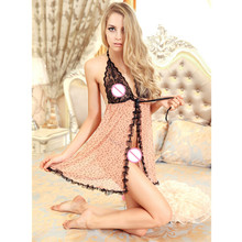 Plus Size Chemise Bows lingerie for women sexy dress see through sexy sleepwear baby doll sexy lingerie langerie lenceria dress