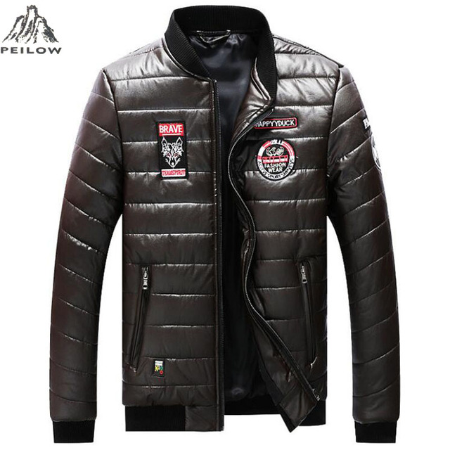 b50251d5e9e PEILOW new winter jacket men plus size M~7XL 8XL embroidered pu leather  jacket male College parka coat male jackets