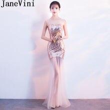 2f793253ed JaneVini BlingBling lentejuelas sirena vestidos de graduación 2019 mujeres Sexy  vestidos de noche ilusión plata oro