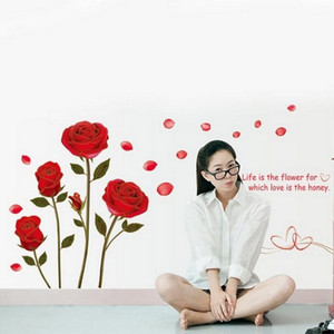 Image 2 - 1Pcs/lot Hot Sale 120x75cm Removable Red Rose Life Is The Flower Quote Wall Sticker Mural For DIY Decal Home Room Art Decoration