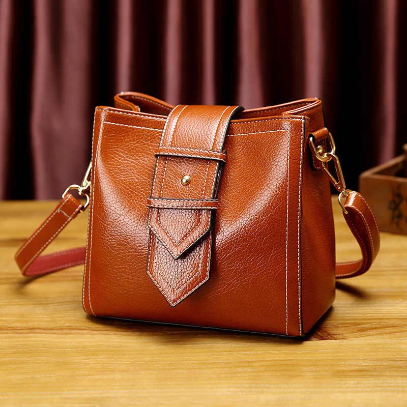 Selempang Tas Wanita Kulit Asli Tas Tangan Women 'S Kecil Bahu Messenger Tas Wanita Top-Handle Bag Jumbai Baru t18